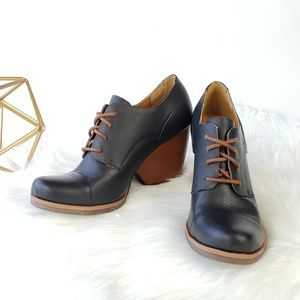 *SIZE UPDATE* Korks Leather Oxford Wedge Booties